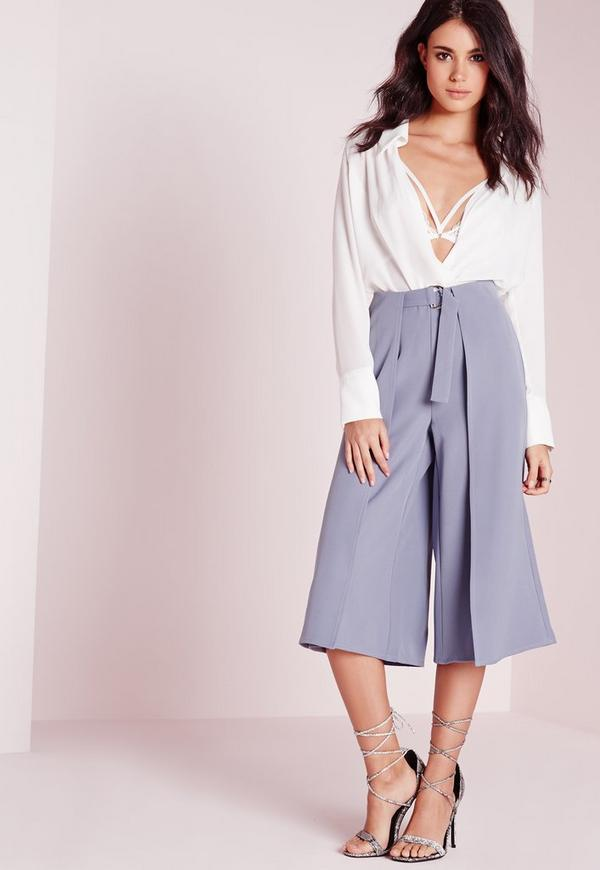 D Ring Detail Culottes Grey