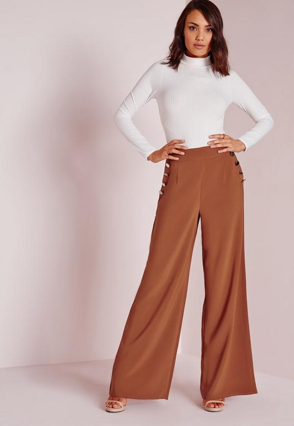 Button Detail High Waist Trousers Rust