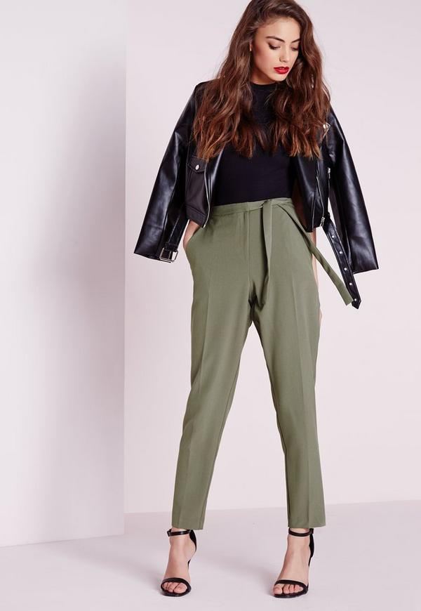 pantalon cigarette vert kaki avec ceinture noeud missguided. Black Bedroom Furniture Sets. Home Design Ideas