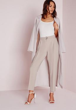 Belted High Waisted Cigarette Trousers Grey