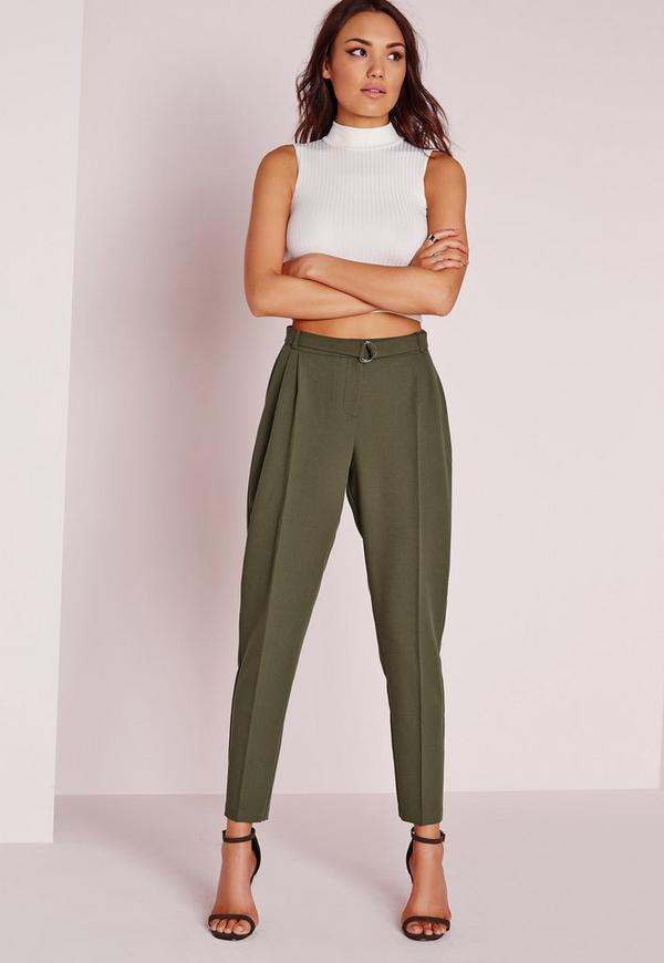 Belted High Waisted Cigarette Trousers Khaki