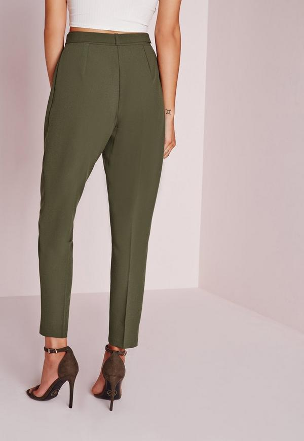 Belted High Waist Cigarette Pants Khaki Missguided