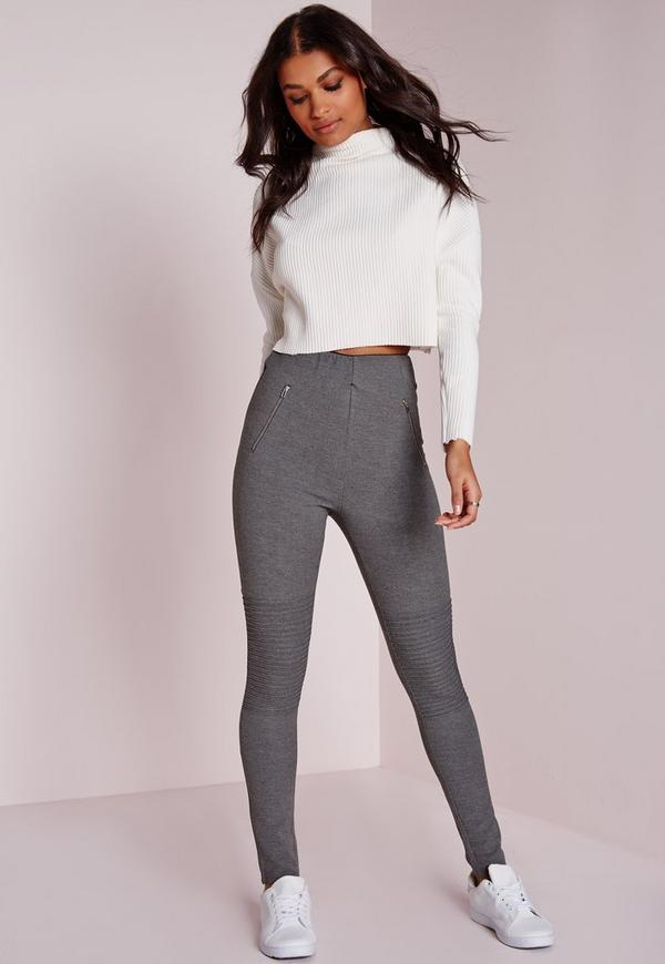 Biker Detail Ponte Pull On Leggings Charcoal Grey | Missguided