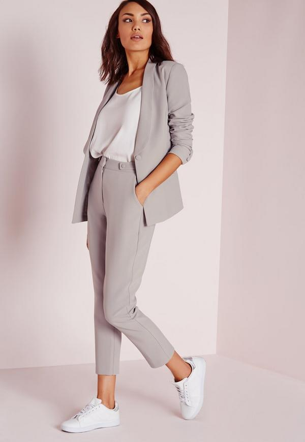 Button Detail Suit Cigarette Trousers Grey