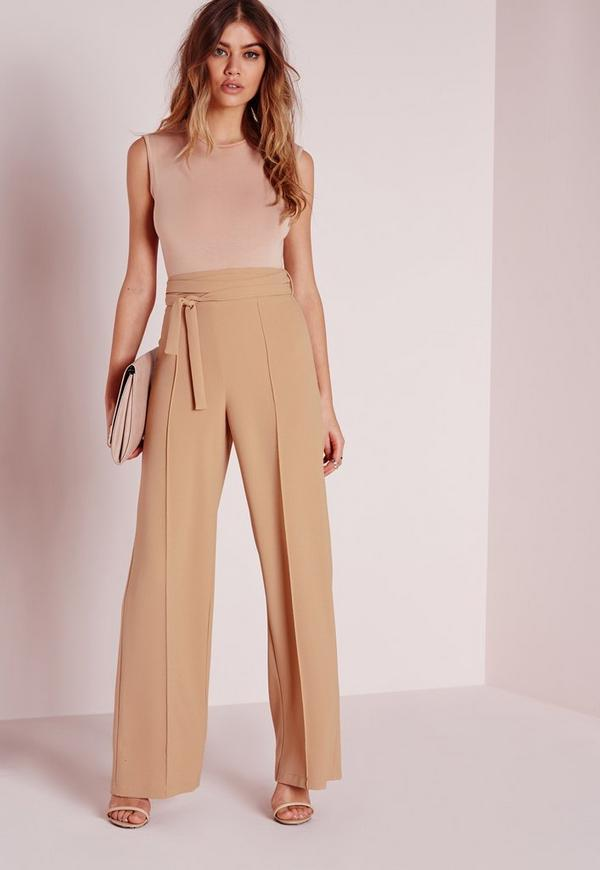 Tie Waist Crepe Wide Leg Pants Camel - Missguided