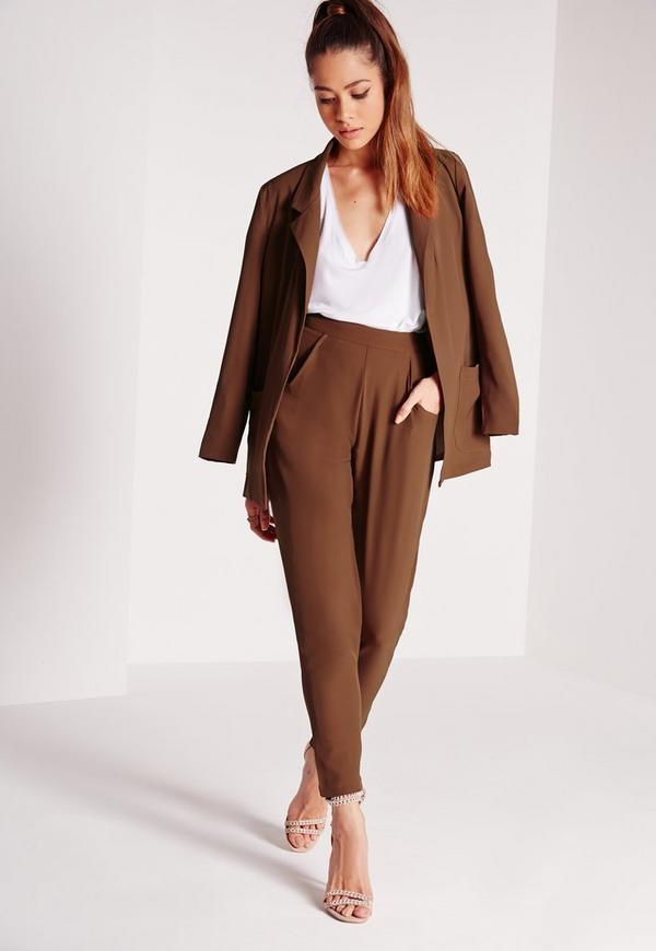 Pocket Detail Cigarette Suit Trousers Brown