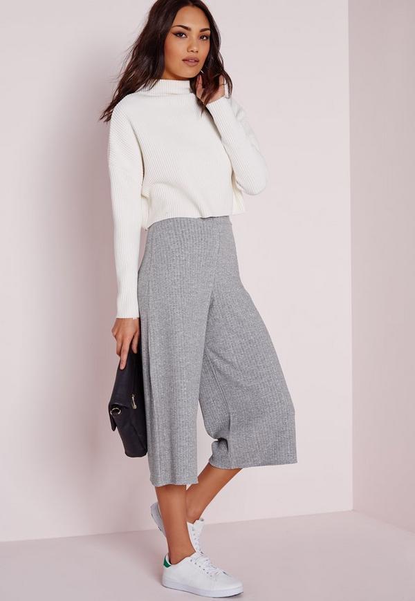 Ribbed Culottes Grey