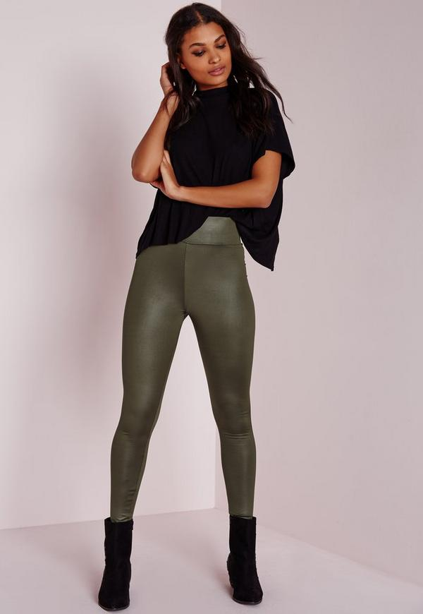 Coated Wet Look Leggings Khaki