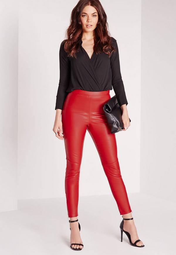 Ankle Zip Faux Leather Trousers Red