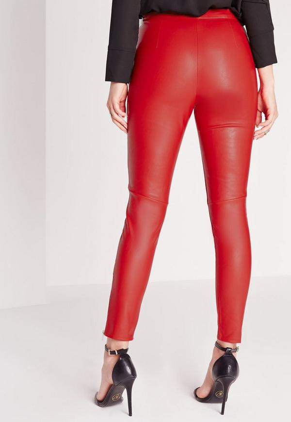 Leather pants red