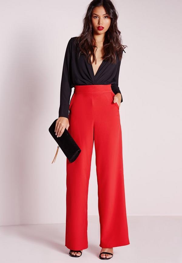 High Waist Wide Leg Trousers Red