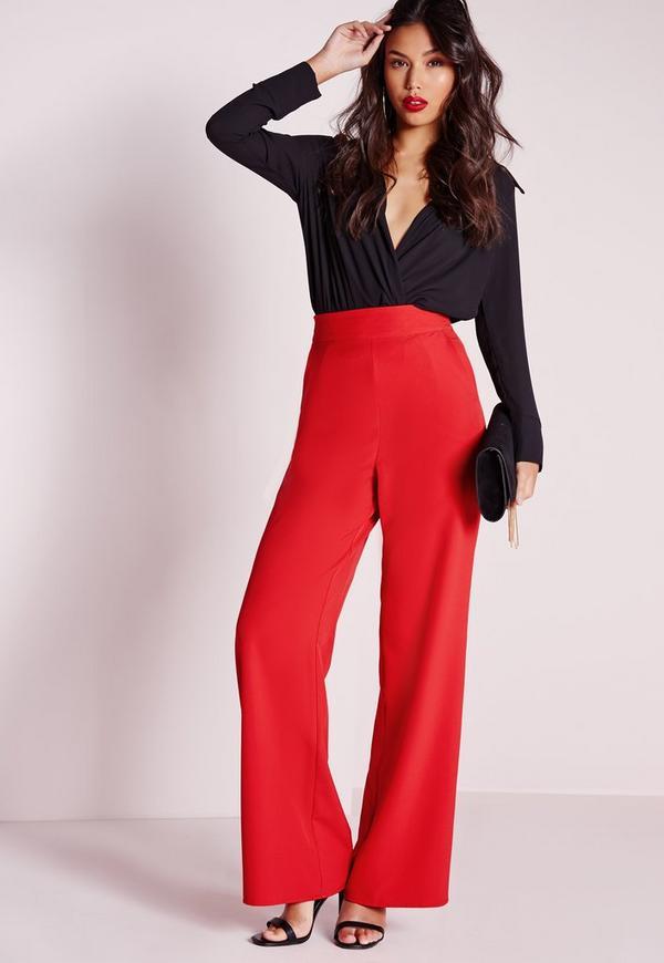 High Waist Wide Leg Pants Red | Missguided