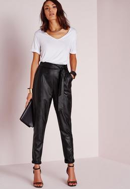 Tie Waist Faux Leather Pegged Leg Pants Black