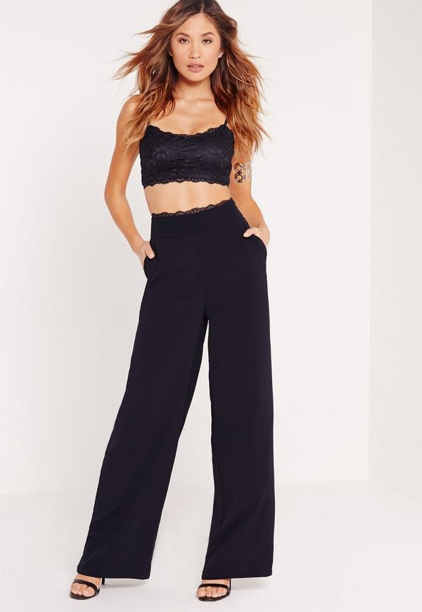 Lace Pocket Detail Wide Leg Trousers Navy
