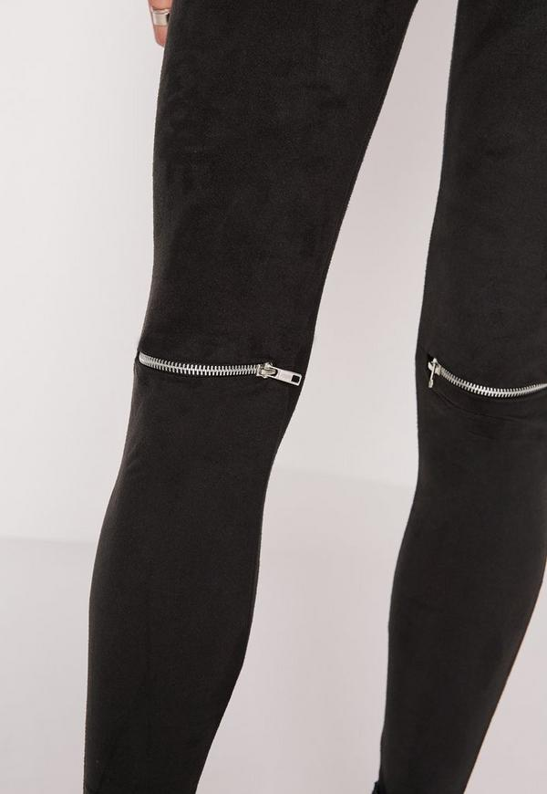 Faux Suede Zip Knee Leggings Black Missguided