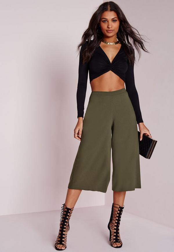 Crepe High Waisted Tailored Culottes Khaki
