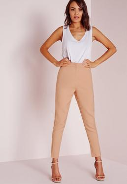 Tailored Cigarette Trousers Nude