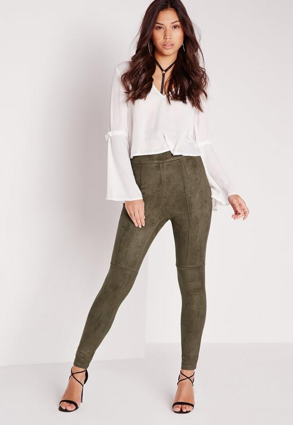 Faux Suede High Waisted Skinny Trousers Khaki