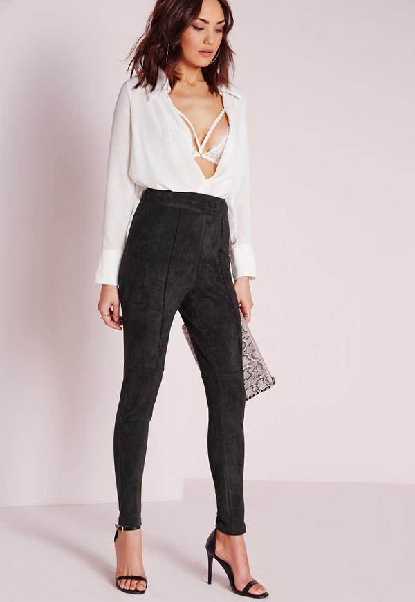 Faux Suede High Waisted Skinny Trousers Black