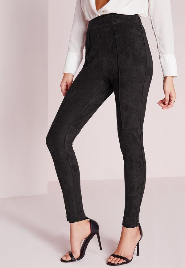 faux suede high waisted skinny trousers black missguided. Black Bedroom Furniture Sets. Home Design Ideas