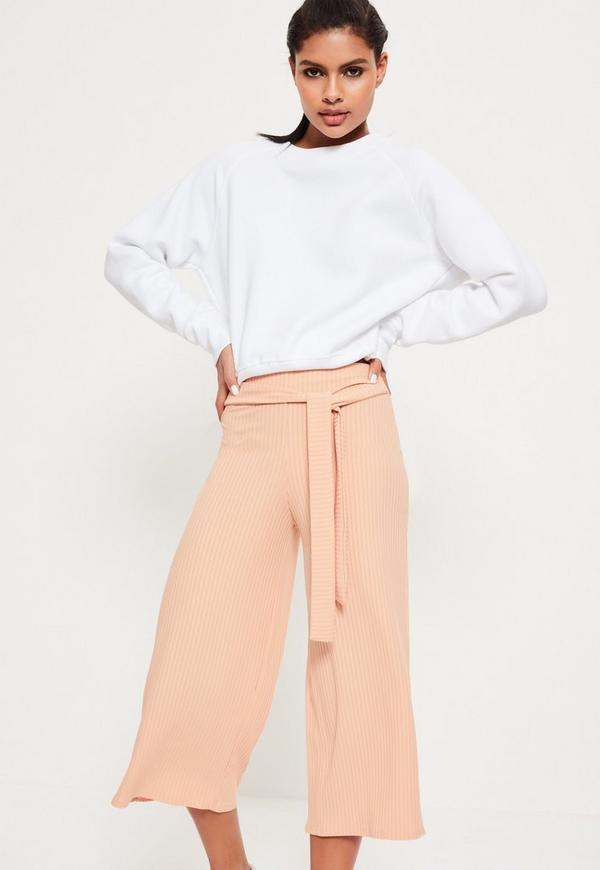 Ribbed Tie Waist Culottes Nude
