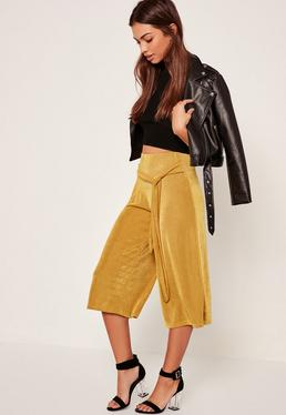 Slinky Textured Tie Waist Culottes Chartreuse Green
