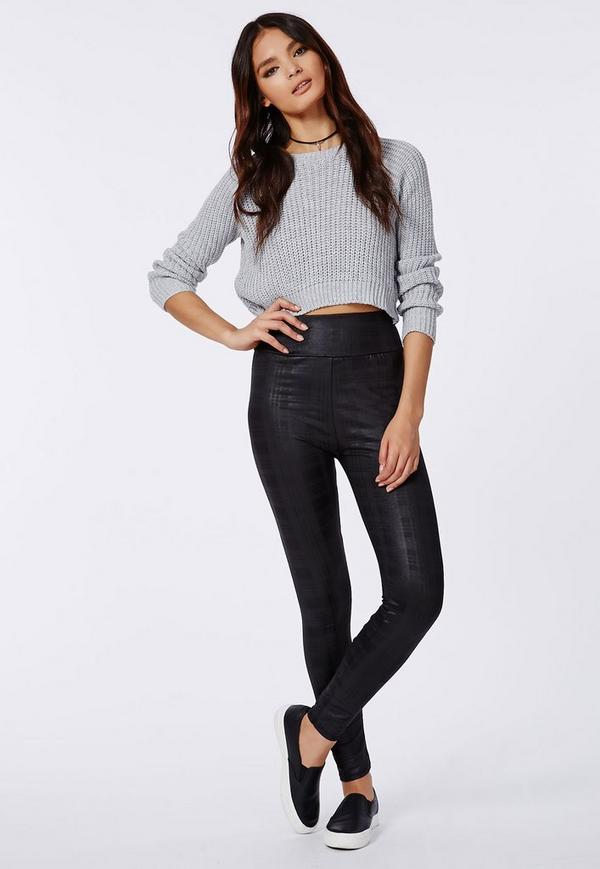 Naiya Checked Wet Look Leggings Black