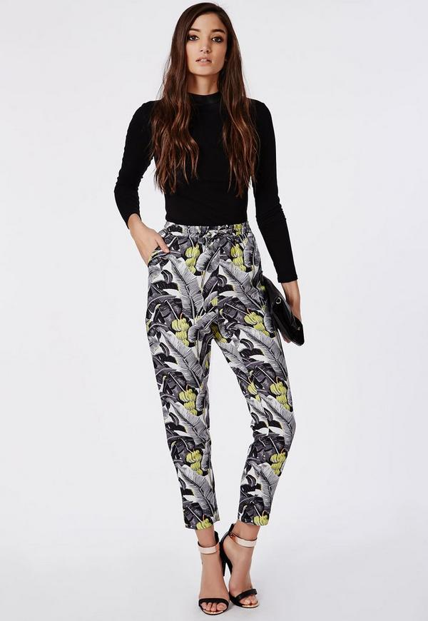 Jamille Leaf Print Tapered Leg Trousers Black