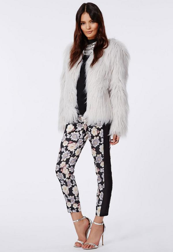 Silky floral Tailored Trousers Black