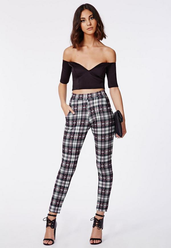 Lilliee Tartan Checked Scuba Treggings Red