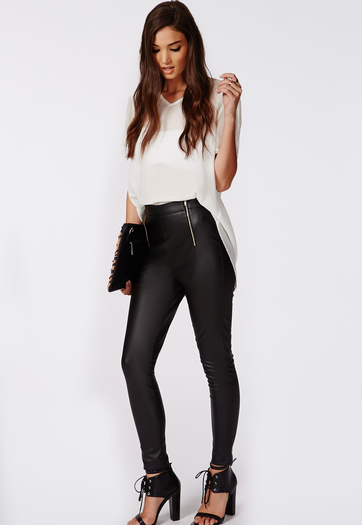 2086eb3954c faux leather zip detail trousers black | Missguided Ireland