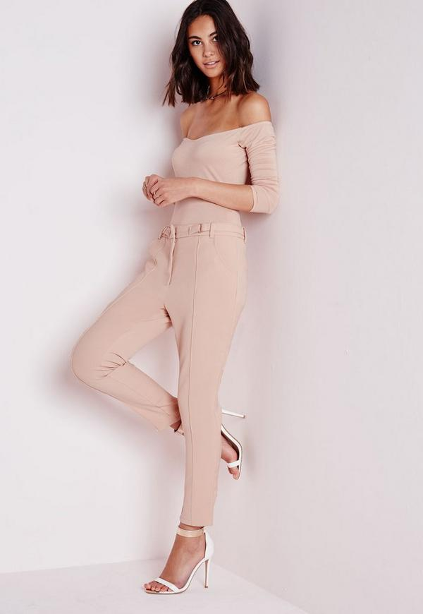 Tailored Pleat Front Trousers With Belt Detail Camel