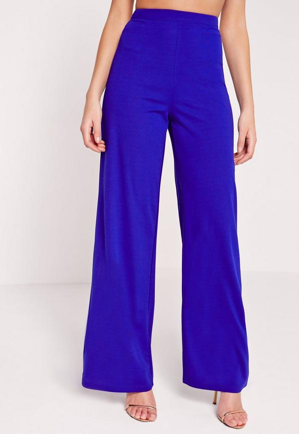 Cut Out Back Wide Leg Pants Cobalt Blue - Missguided