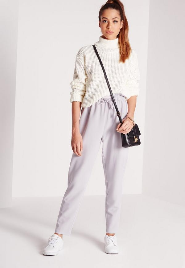paperbag waist tapered trousers grey
