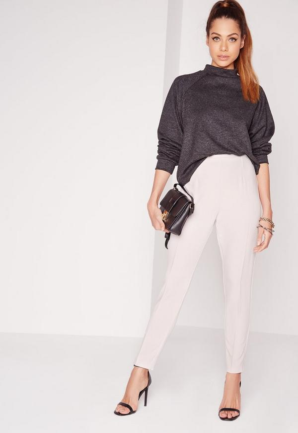 High Waisted Cigarette Trousers Grey