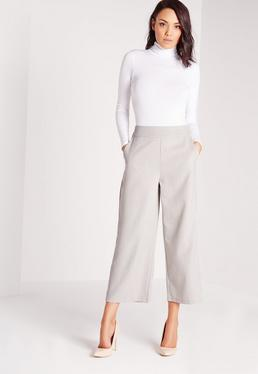 Cropped Wide Leg Culottes Grey