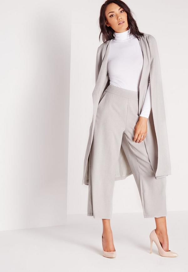 Cropped Wide Leg Pants Grey | Missguided