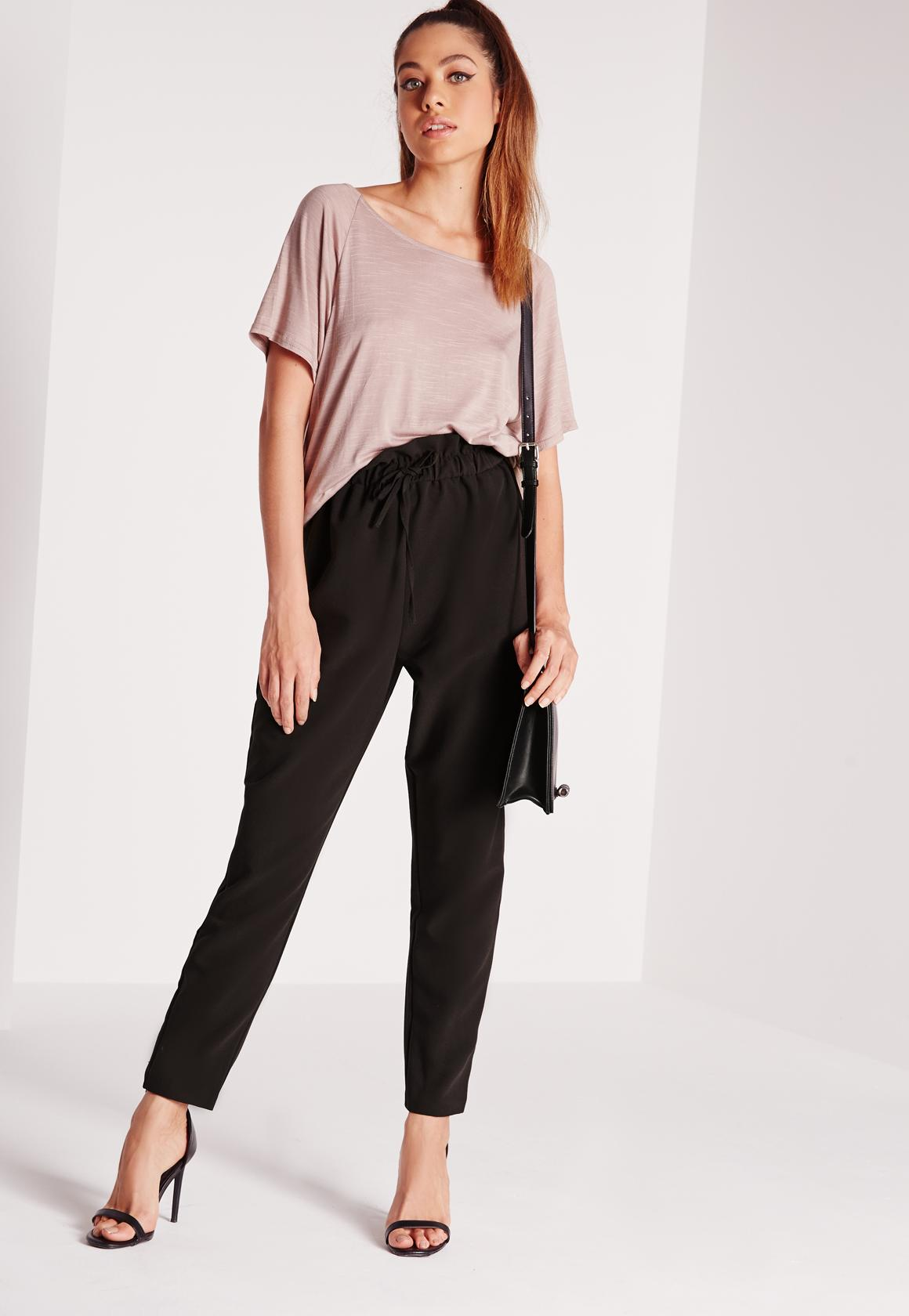 Paper bag trousers - Paperbag Waist Tapered Pants Black