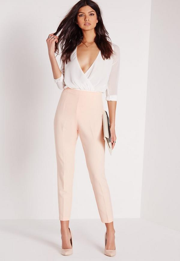 High Waisted Cigarette Trousers Nude