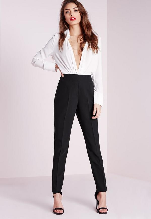 High Waisted Cigarette Trousers Black Missguided