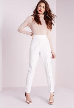 High Waist Cigarette Trousers Ivory