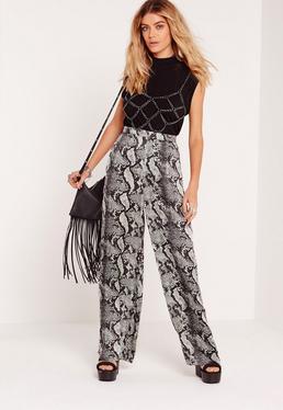 Pantalon large imprimé serpent gris