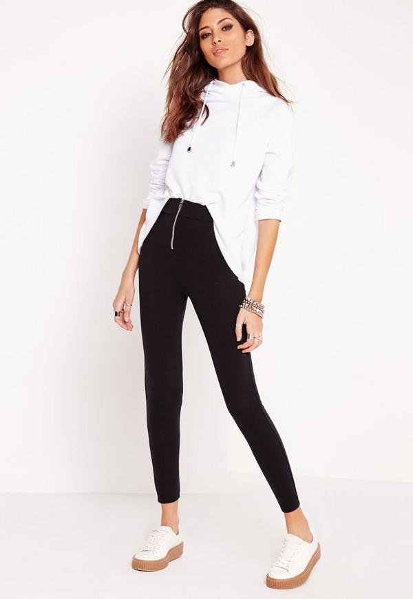 Zip Detail Ponte Skinny Fit Trousers Black