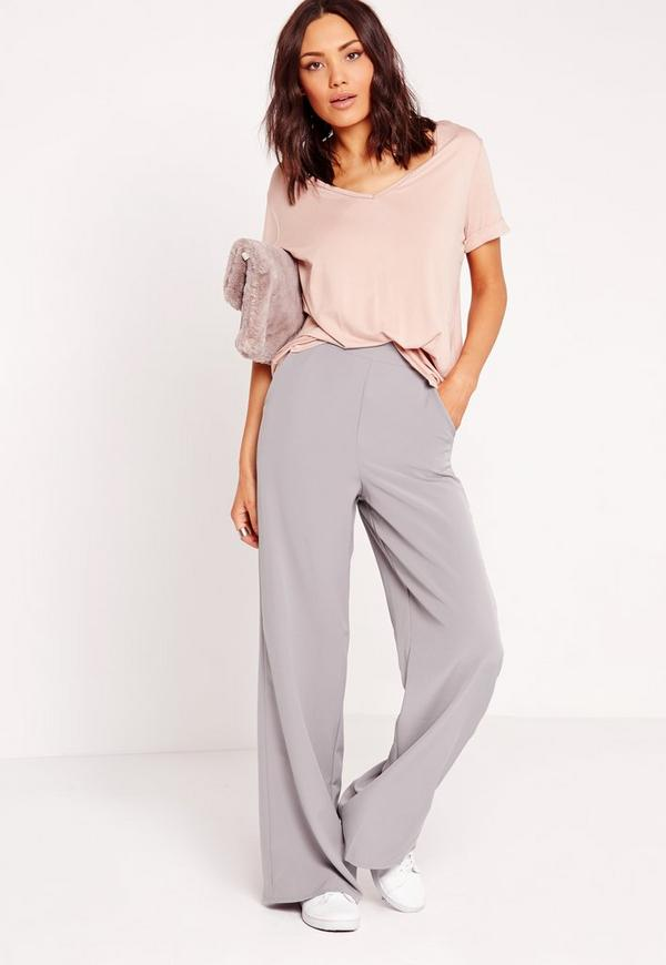 High Waisted Wide Leg Trousers Grey