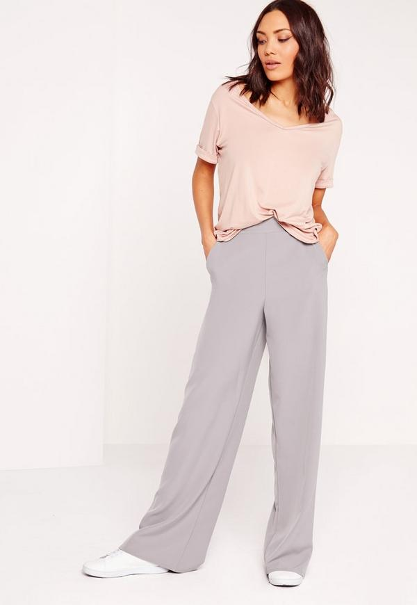 high waisted wide leg trousers grey missguided. Black Bedroom Furniture Sets. Home Design Ideas