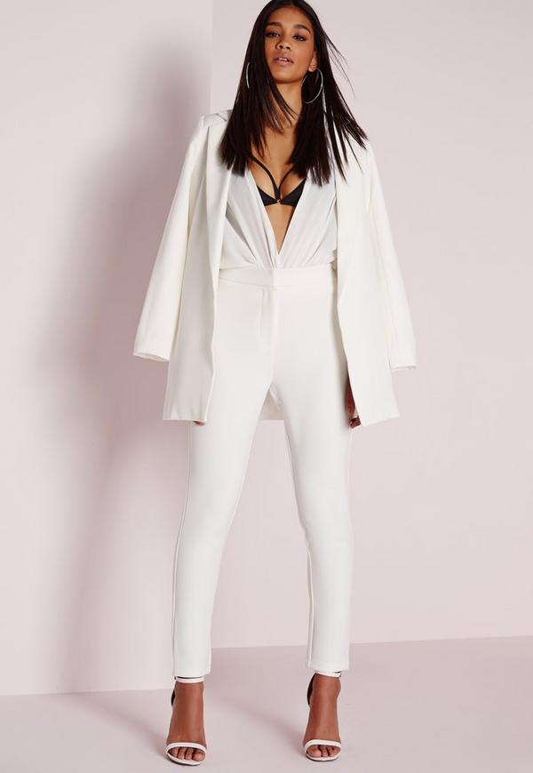 Tailored Cigarette Trousers Ivory