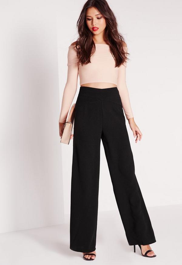 Cross Waistband Wide Leg Trousers Black