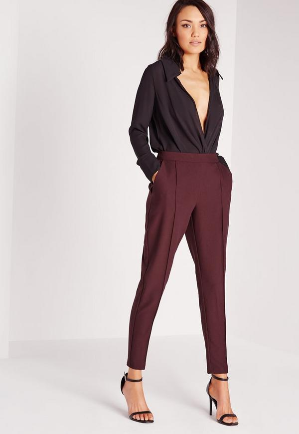 Pintuck Detail Cigarette Trousers Purple