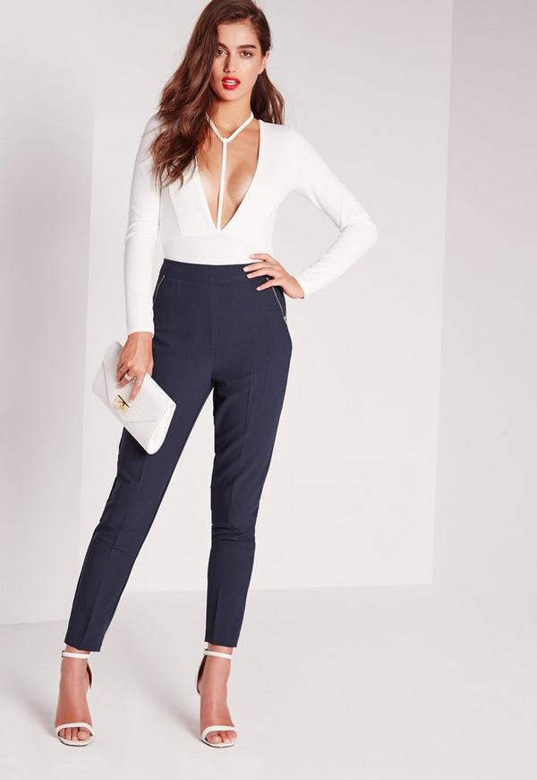 Zip Pocket High Waist Cigarette Trousers Navy