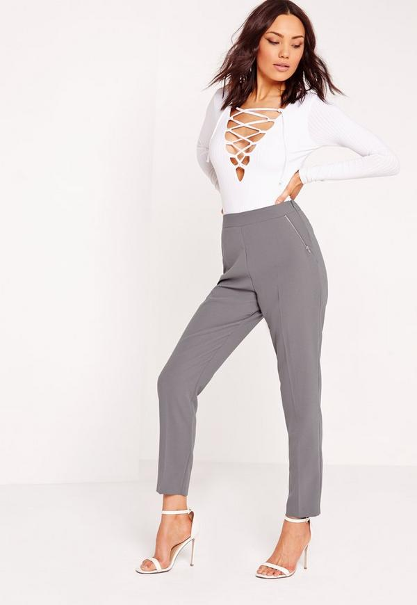 Zip Pocket High Waisted Cigarette Trousers Grey